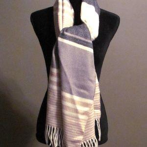 Calvin Klein Beige Stripe Cotton Oversize Scarf